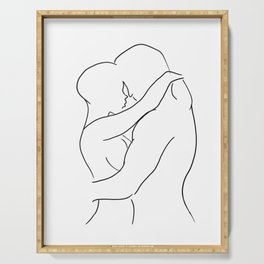 Lovers Hugging Minimalist Sketch Serving Tray