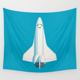 Space Shuttle Spacecraft - Cyan Wall Tapestry
