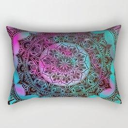 Ultra Violet And Teal Mandala Rectangular Pillow
