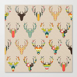 retro deer head on linen Canvas Print