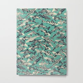 shark party jade Metal Print