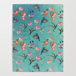Vintage Watercolor hummingbirds and fuchsia flowers Poster