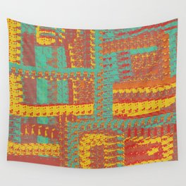Turquoise, Gold, and Orange Textured Pattern Wall Tapestry
