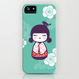 Japanese Doll in Green iPhone Case