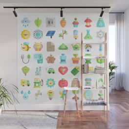 CUTE GREEN / ECO / RECYCLE PATTERN Wall Mural