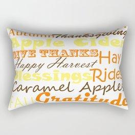 Fall Subway Style Word Art Design Rectangular Pillow