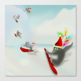 Snow Surfin' Baby Penquines Canvas Print