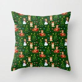 Merry Corgmess- Corgi Celebrate Christmas- Xmas Tree Green Throw Pillow