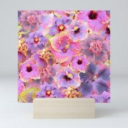 Tropical hibiscus patterns Flower Floral Flowers Mini Art Print
