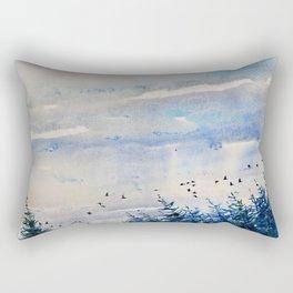 black birds, blue sky Rectangular Pillow