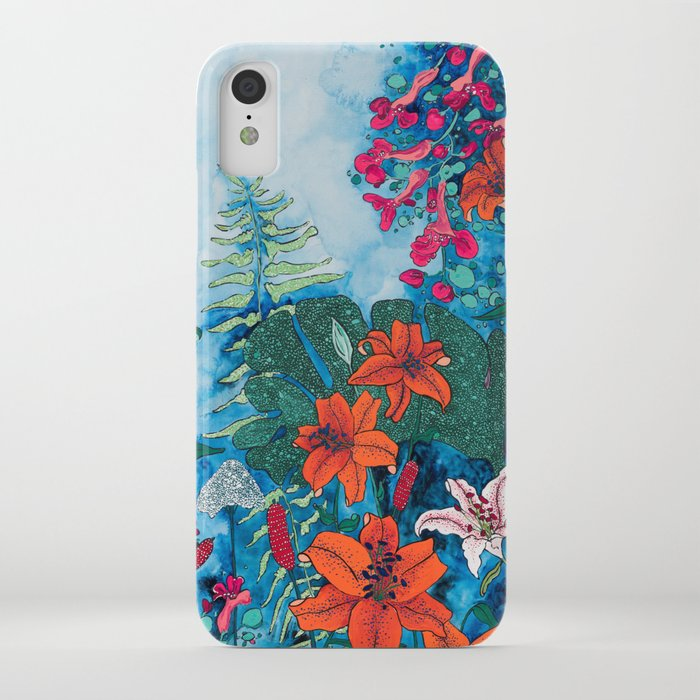 Blue Jungle of Orange Lily and Pink Trumpet Vine Floral iPhone Case