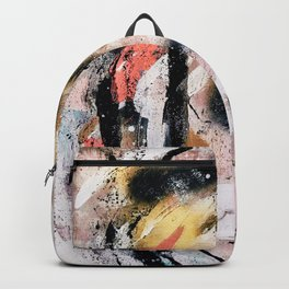 Lightning Soul: a vibrant colorful abstract acrylic, ink, and spray paint in gold, black, pink Backpack