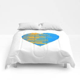 Glitching Hearts — Blue and Orange Comforters