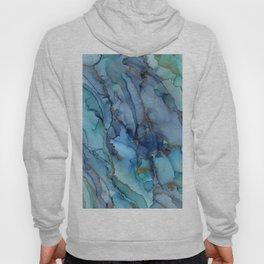Mermaid Party Blue Marble Abstract Ink Hoody