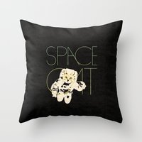 space cat Throw Pillows featuring Space Cat by Koning