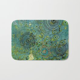 Blue & Green Abstract Art Collage Bath Mat
