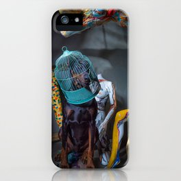 Doberman in Bird Cage Modeling with Nude Painted Mannequins Artistic and Colorful iPhone Case