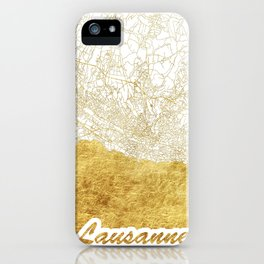 Lausanne Map Gold iPhone Case