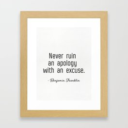 Franklin quote Framed Art Print