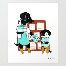 Labrador Librarian (Dogs with Jobs series) Art Print