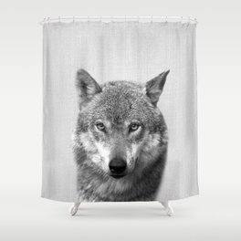 Wolf - Black & White Shower Curtain