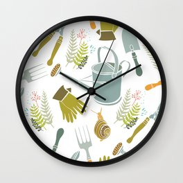 Spring background, gardening tools and snails Wall Clock