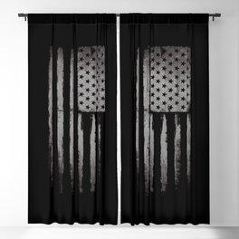 White Grunge USA flag Blackout Curtain
