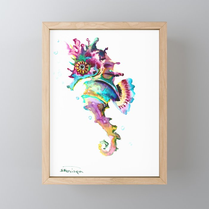 Seahorse , multi colored sea world animal art, design, cute animal art beach Framed Mini Art Print