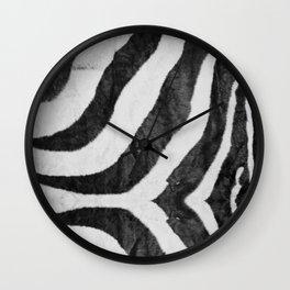 Zebra Animal Print Black White Gray Wall Clock
