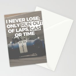 Racer Driver Out Of Laps Gas Time Never Lose Racing Stationery Cards
