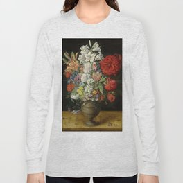 """Osias Beert """"Flowers in a German tigerware vase, with a bluebottle fly and a Red Admiral butterfly"""" Long Sleeve T-shirt"""