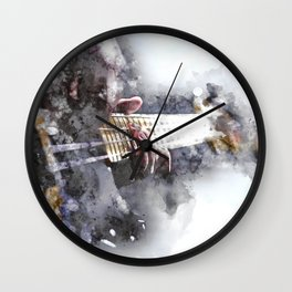 Person Playing Electric Bass Guitar in watercolor style Wall Clock