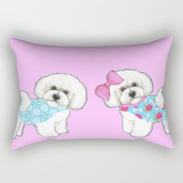 Bichon Frise Dogs in love- wearing pink and blue coats Rectangular Pillow