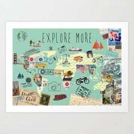 Explore More World Map Collage Art Print