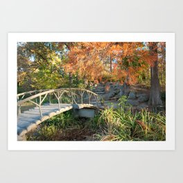 Woodward Park Bridge in Autumn - Tulsa Oklahoma Art Print