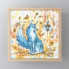 Turquoise fox in the autumn forest with a flashlight ~ watercolor illustration Framed Mini Art Print