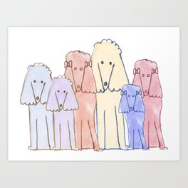 Pack Of Pretty Poodles Art Print