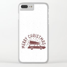 Merry Christmas Station Wagon Clear iPhone Case
