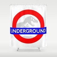 jurassic park Shower Curtains featuring LONDON UNDERGROUND : JURASSIC PARK SERVICE by DrakenStuff+