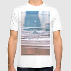 Droplet White Mens Fitted Tee MEDIUM