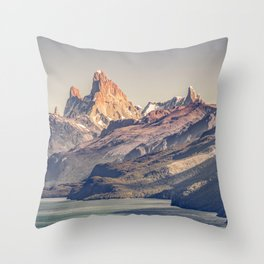 Fitz Roy and Poincenot Andes Mountains - Patagonia - Argentina Throw Pillow