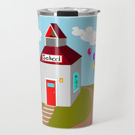 An Ole School House with Balloons Travel Mug
