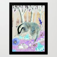 badger Art Prints featuring badger by ahatom
