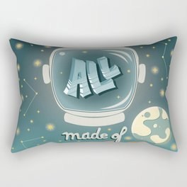 We are all made of stars, typography modern poster design with astronaut helmet and night sky, green Rectangular Pillow