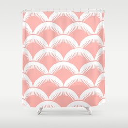 Japanese Fan Pattern Peach Shower Curtain