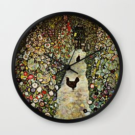 """Gustav Klimt """"Garden Path with Chickens"""" Wall Clock"""