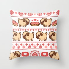 Puglie Christmas Sweater (Red) Throw Pillow