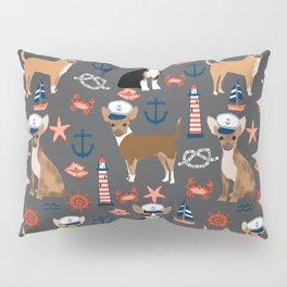 Chihuahua nautical sailor dog pet portraits dog costumes dog breed pattern custom gifts Pillow Sham