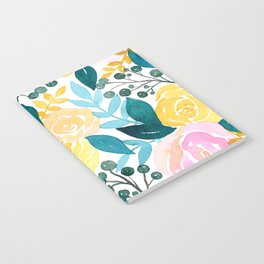 Tropical Pink Teal + Yellow Floral Print  Notebook