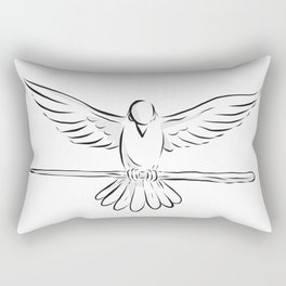 Soaring Dove Clutching Staff Front Drawing Rectangular Pillow